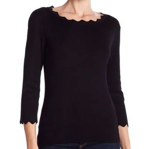 Philosophy Black Scalloped Neck Pullover Sweater